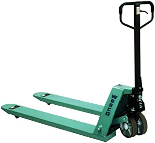 """Wesco Industrial Products 272778 CPII Pallet Truck with Handle, Moldon Polyurethane Wheels, 5500 lb. Load Capacity, 63"""" Length x 27"""" Width x 48"""" Height"""