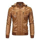 Chaqueta de cuero sintético para hombre, chaqueta de bombardero de motocicleta, impermeable, otoño, invierno, Outwear, A-marrón, XXL