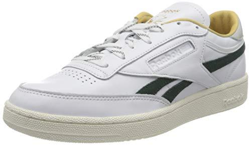 Reebok Herren Club C Revenge Sneaker, White/Gold Metallic/Forest Green, 43 EU