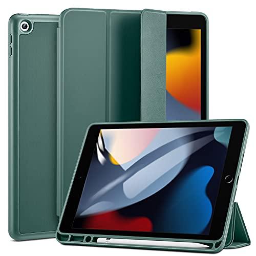 ESR Hülle kompatibel mit iPad 9/8/7 Generation mit Stifthalter, 10,2 Zoll 2021/2020/2019, Dual-Winkel Ständer, automatische Ruhe-/Wachfunktion, grün