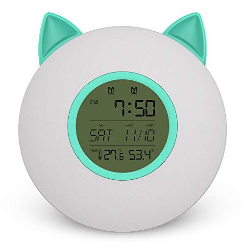 Reloj despertador LED inteligente Luz de despertador Luz de noche FM Sunrise Colorido Mesita de noche Niños's Dormitorio Lámpara de escritorio Luz de noche-Verde