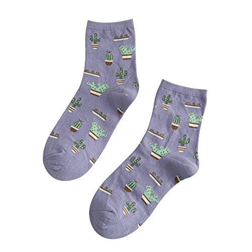 uyhghjhb 1 Paar Fashion Unifarbene kleine frische Kaktus-Baumwolle Damen Tube Socken Baumwolle Socken Herbst Winter Socken, Hellviolett