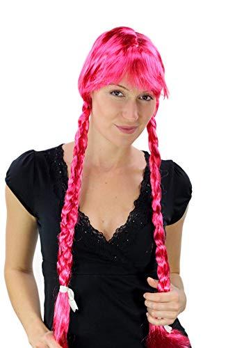 WIG ME UP Perücke Pink Lange Zöpfe ALM Heidi Fasching Karneval Bayern PW0094-PC41