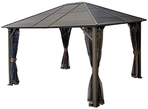 Kozyard 10ftx12ft Hardtop Aluminum Permanent Gazebo with a...
