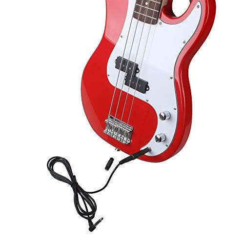Beesclover - Cable de audio para guitarra de 3 m con 3 adaptadores de 6,35 mm de ángulo recto a derecho