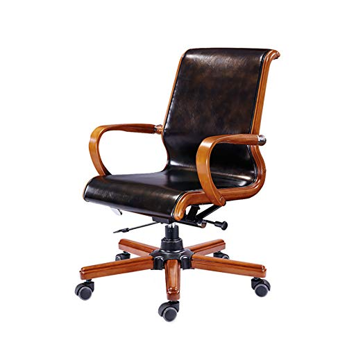 YGB luxe stoel kantoor, hoge rug PU Swivel Managers bureaustoel Executive stoel antieke stijl houten stoel hoogte verstelbaar (bruin)