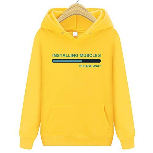 GFQTTY Long Sleeve Sweatshirt Unisex Casual Tops Printed Hooded Track Jacket Jumper Skateboard Men's Hoodie Clothing,Yellow,M