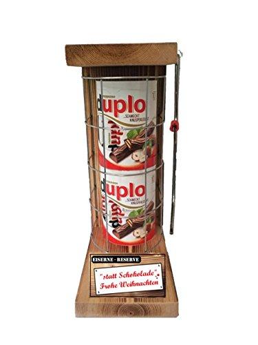 statt Schokolade Frohe Weihnachten - duplo Riegel - Eiserne Reserve 20 Riegel duplo - incl. Säge - lustiges witziges Geschenk für Mutter Vater Bruder Schwester Geschenkidee für Weihnachten