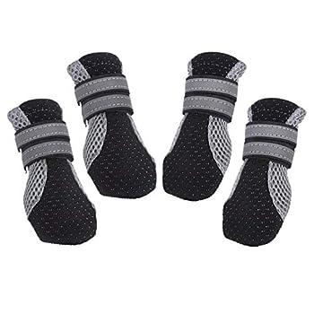 PETCUTE Bottes Chien de Protection Chaussures pour Chien Imperméables Chien Chaussure Respirantes Chausson Antidérapant(Noir L-5.3 * 4.0 cm)