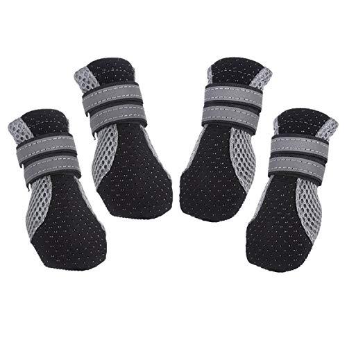PETCUTE Bottes Chien de Protection Chaussures pour Chien Imperméables Chien Chaussure Respirantes Chausson Antidérapant(Noir XL-5.9 * 4.0 cm)
