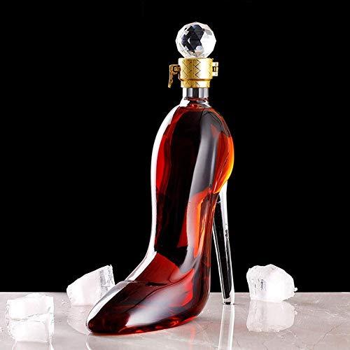 ZYLZL Recipiente para vino con forma de tacón alto, soplado a mano, aireador decantador de vidrio 100% sin plomo, decoración del hogar, botella de vino creativa,Transparente,750ML
