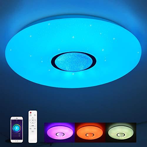 Lámpara de techo compatible con Amazon Alexa y Google Home 24W, Ø 40CM, cambio de color, estrellas, regulable, blanco cálido-blanco frío, 2800-6500 Kelvin, luz ambiental RGB, luz nocturna