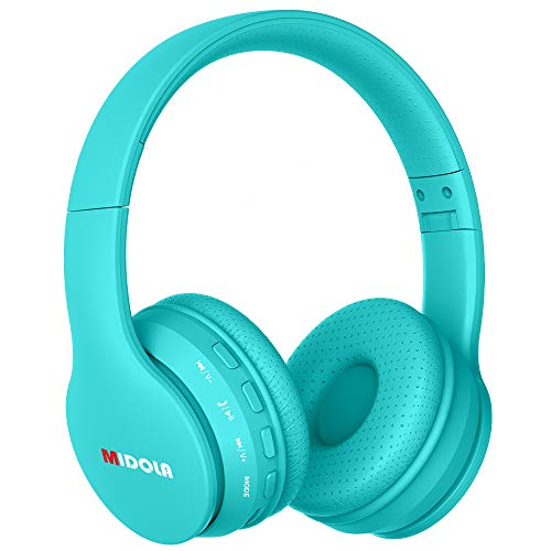 Midola Headphones Wireless Kids & Aldult Volume Limited 94dB /110dB Bluetooth Over Ear Foldable Stereo Noise Protection Headset with AUX 3.5mm Cord Mic for Boy Girl Cellphone Pad Tablet TV PC Cyan