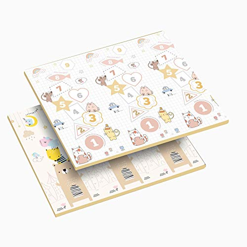 WZHIJUN Puzzle Play Mats Digital liten björn hopfällbar XPE skum barnmatta baby krypspel dyna, 200 × 180 × 2 cm (Färg: A, storlek: 180 × 160 × 2 cm)