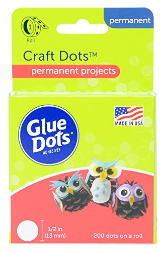 Glue Dots Craft Dots Adhesive, 1/2 Inch, Clear, Roll of 200