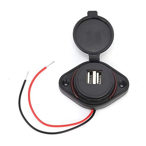 Terisass Adaptador de Cargador de Coche USB Dual 12-24V 3.1A LED Cargador de Coche rápido Adaptador de Toma de Corriente de Carga rápida Montaje en Panel de Carga para Moto Coche Barco ATV UTV