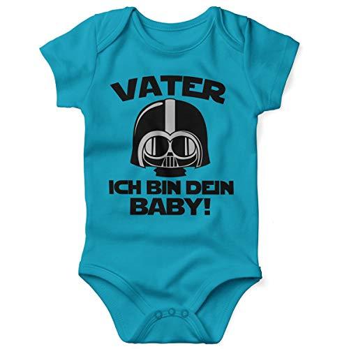 Mikalino Babybody mit Spruch für Jungen Mädchen Unisex Kurzarm Vater - ich Bin Dein Baby! | handbedruckt in Deutschland | Handmade with Love, Farbe:Atoll, Grösse:56