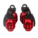 Senzeal 4X Aluminum Grenade Bomb Style Universal Car Truck Motorcycle Wheel Tyre Valve Caps Bicycle Tire Air Valve Cover Red