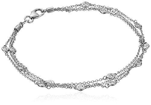 14k White Gold Floating Diamond Strand Bracelet (1/2 cttw, K-L Color, I1-I2 Clarity), 7
