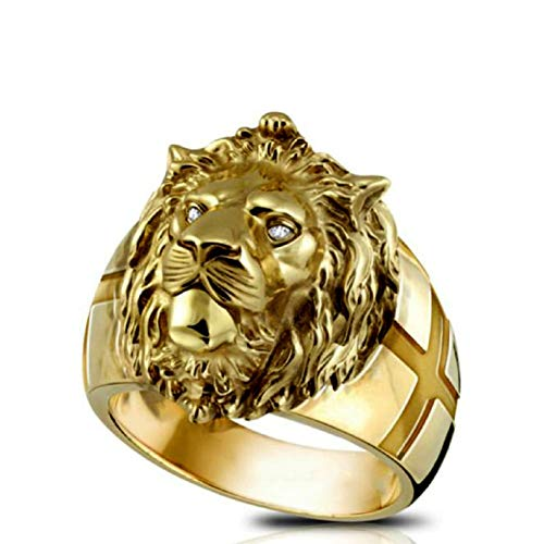 Gold Lion Head Ring for Men, Norse Viking Lion Ring with Rhinestones Crystal Eye, Heavy Metal Rock Punk Style Gothic Biker Cross Ring, Lion Totem Amulet Ring, Punk Animal Lion Jewelry Gift(S)