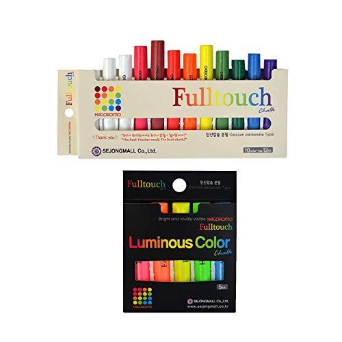 Hagoromo Fulltouch 10-Color Mix Chalk 12pcs & HAGOROMO Fulltouch Luminous (5 Colors Mix) 5 pcs