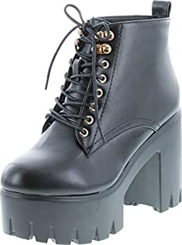 Soda Women s Climate Faux Leather Lace-Up Thick Platform Chunky Heel Lug Ankle Bootie,Black,9