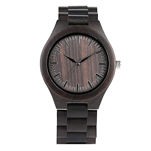 HYLX Relojes de Madera Hechos a Mano de Negocios para Hombres, Reloj de Madera de Cuarzo Duradero para Hombres, Reloj de ébano Informal para niños -