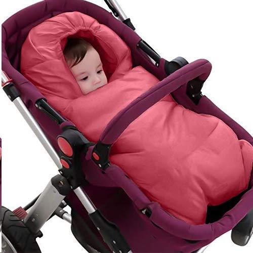 ASEOK Saco de dormir para bebés Cocoon Style Saco de dormir de algodón anti patada, cochecito universal 3 en 1 Anexo Mat Reposapiés Cubre de cochecito Bolso de Bunting Impermeable a prueba (ROJO, L)
