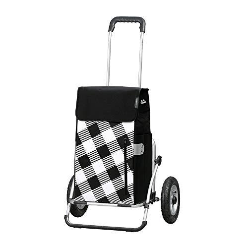 Andersen Einkaufstrolley Royal XXL klappbar mit luftbereiftem Kugellagerrad 25 cm und 43 Liter Einkaufstasche Glen mit Kühlfach schwarz/weiß