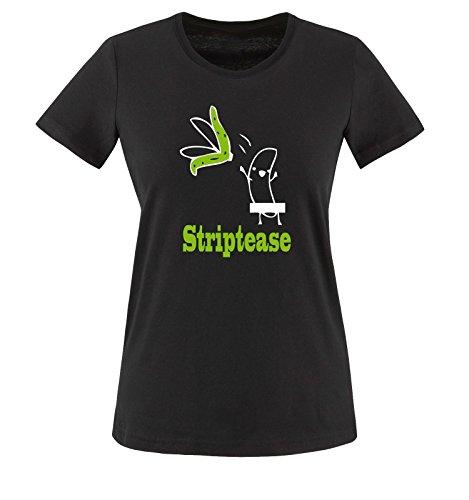 Striptease - Banane - Damen T-Shirt - Schwarz/Weiss-Grün Gr. L