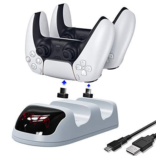 MoKo Estación de Carga Compatible con Controlador inalámbrico DualSense 2020/ Controlador Sony Playstation 5 / PS5, Doble USB Muelle de Carga Rápida con Controlador Indicador LED - Blanco