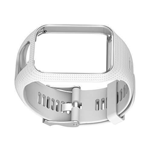 kexinda Sostituzione cinghia banda di silicone cinturino da polso per TomTom 2 3 Runner 2 3 Spark 3, Bianco