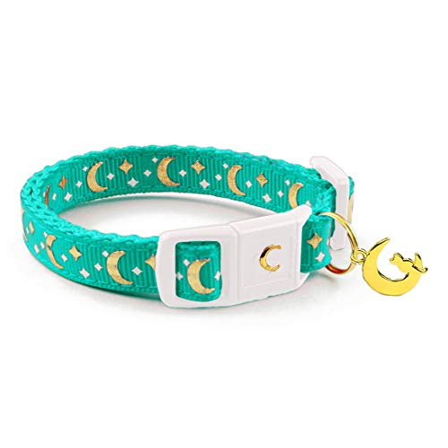 waaag Pet Collar Gold Moons and Stars Cat Collar, Safety Breakaway Cat Collar, Glow in The Dark (Standard 9'-15' Neck, Aqua)