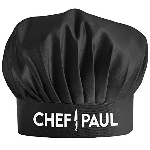 Custom Chef Hat - Personalized with Name- Adjustable Kitchen Cooking Hat for Men & Women Black