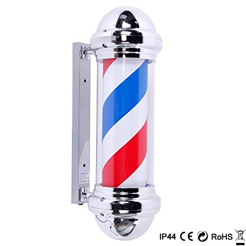 Mefeir 30' Barber Pole LED Light,Classic Style Hair Salon Barber Shop Open Sign,Rotating Red White Blue LED Strips,IP44 Waterproof Save Energy