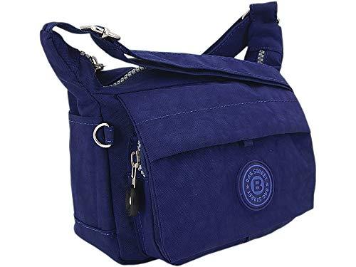 Moderne und zugleich sportliche Damen-Handtasche kleine Umhängetasche aus hochwertigem wasserabwesendem Crinkle Nylon (Marineblau)