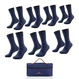 EINSIEBTEL® EINCLASSIC Herren Socken Business Socken 7er Pack, Nachhaltige Verpackung mit Aufbewahrungstasche (7X Blue Navy, 39-42, numeric_39)