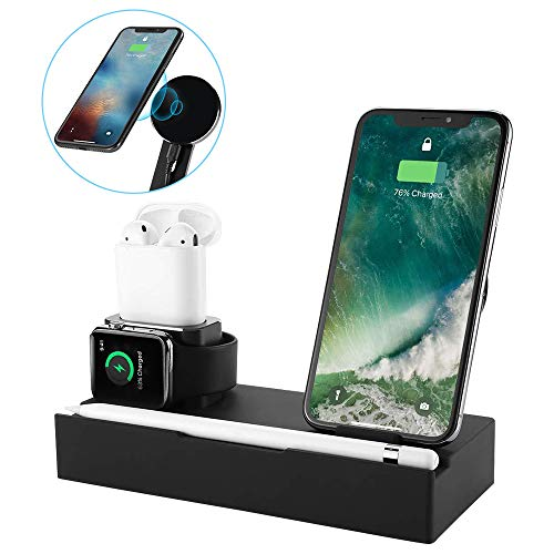 iCozzier [8 in 1 Supporto di Ricarica in Alluminio, Supporto Wireless per Tablet, Telefono Cellulare con 2 Porte USB, Stazione Organizer per Apple Watch, Matita, iPhone, AirPods, iPad