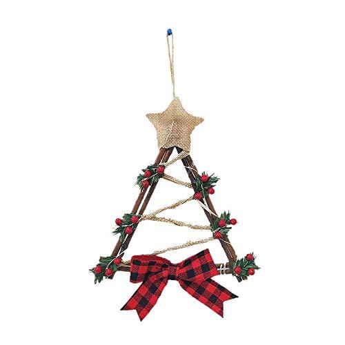 Corona de Navidad decorada con luces para puerta de casa de Navidad