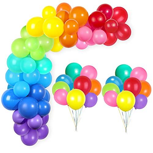 GAGAKU Palloncini colorati Ghirlanda ad arco Confezione da 60 9 colori vivaci assortiti Palloncini in lattice da 12 pollici Decorazioni per feste di compleanno
