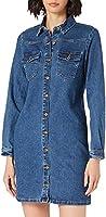 PIECES Pcperry L/S Denim Dress-Vi/Noos BC Vestido para Mujer