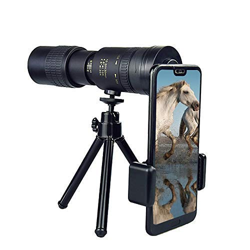 Telescopio monocular 4K 10-300x40mm Monocular Telescopio, con adaptador para móvil y trípode, utilizado para observar aves, caza, camping, partidos de fútbol, conciertos