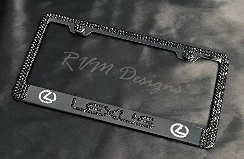 Bling Black License Plate Frame made with Swarovski Crystals - Lexus Car Jewelry -  RVMdesigns