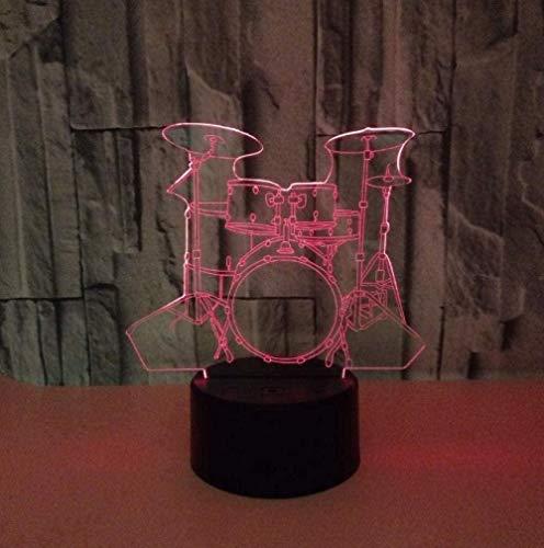 Lonfencr Lámpara de Mesa LED con 7 Colores cambiantes de Tambor de luz Nocturna de ilusión óptica 3D con Base acrílica Plana y ABS y Cable USB para Regalos de niños decoración del hogar