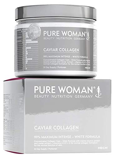 HECH Pure Woman Caviar Collagen, hochdosiertes marines Kollagen-Pulver zum Trinken, für gesunde Haut, Haare, Nägel, Knochen und Gelenke, mit Protein, Vitamin A, D, C & E, 300 g