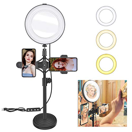 8' Ring Light Mirror for Selfie/YouTube Video and Live Makeup/Photography, MDrebel Dimmable LED Ring...