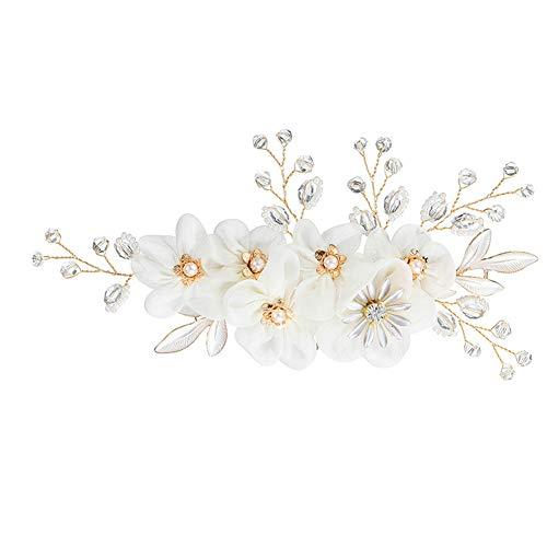 Sanwood Peigne à cheveux pour mariée, strass floraux, fausses perles, pinces à cheveux de mariage