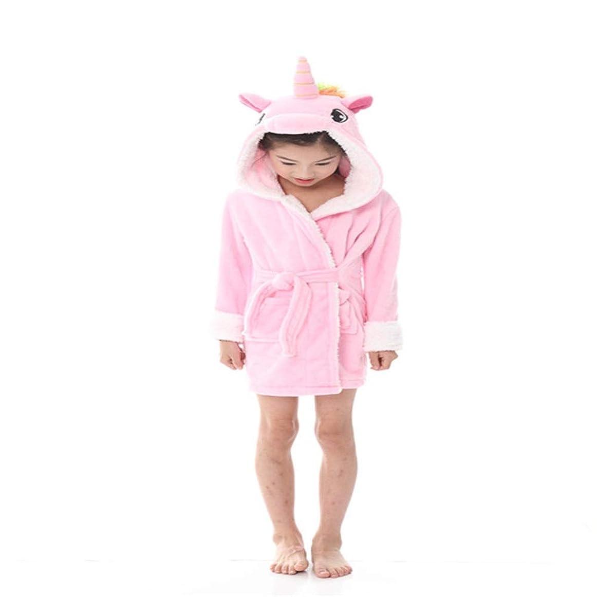 受益者ステートメント南方のローブキッズユニコーンバスローブフード付きローブパジャマ?ボーイズ?ガールズフリースローブフランネルバスローブChildrenSchool少年少女キッズバスローブソフトフード付きユニコーンローブ暖かい動物Nightiesユニセックスギフト (Color : Pink, Size : 100CM)