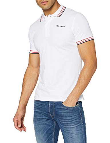 Teddy Smith PASIAN MC Polo T-Shirt - Homme - Blanc (Blanc/Blue/Red 202a5) - X-Large
