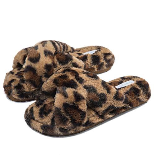 Miqieer Damen Plüsch Hausschuhe Weiche Wärme Flauschige Pantoffeln Flache rutschfeste Bequeme Slippers Indoor Outdoor Gr. 36-44, Leopard Braun,40 EU